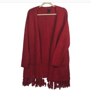 NEW DIRECTION CARDIGAN RED LARGE WITH TASSELS